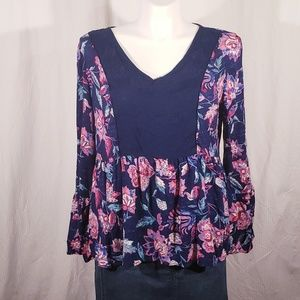3/$25 New Direction Navy Floral Peasant top sz XL
